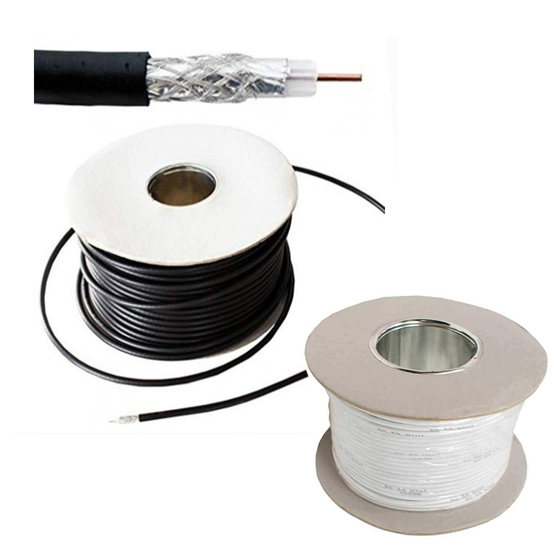 100m RG59 Coax Cable black/white