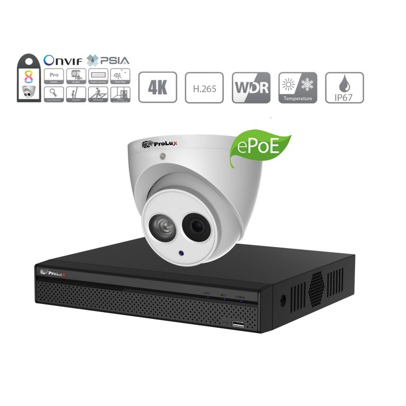 Prolux 8MP IP CCTV System - (8x) 8 Megapixel Starlight ePoe IP Camera - 8 Channel NVR