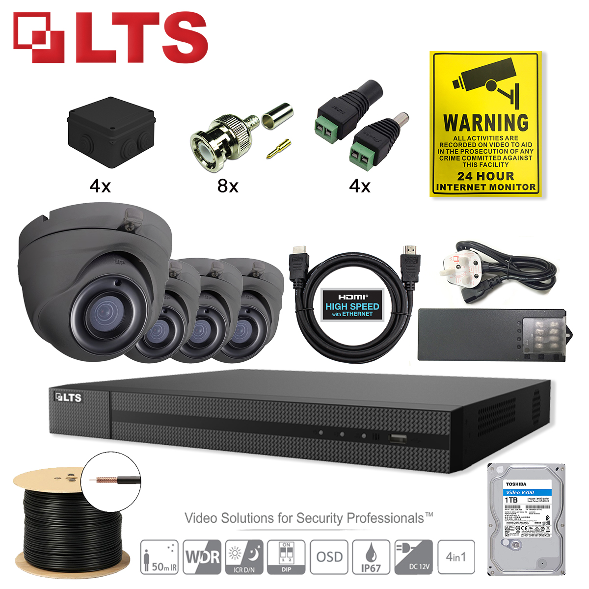 4 Channel CCTV System 1080p Security System Bundle