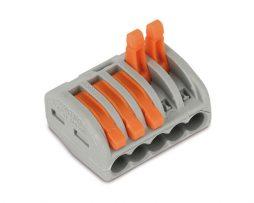 WAGO 5 Conductor 222 Series Compact Lever Splicing Connector 32A Grey/Orange - [50 Pcs]