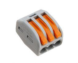 WAGO 3 Conductor Compact Lever Splicing Connector 32A Grey/Orange