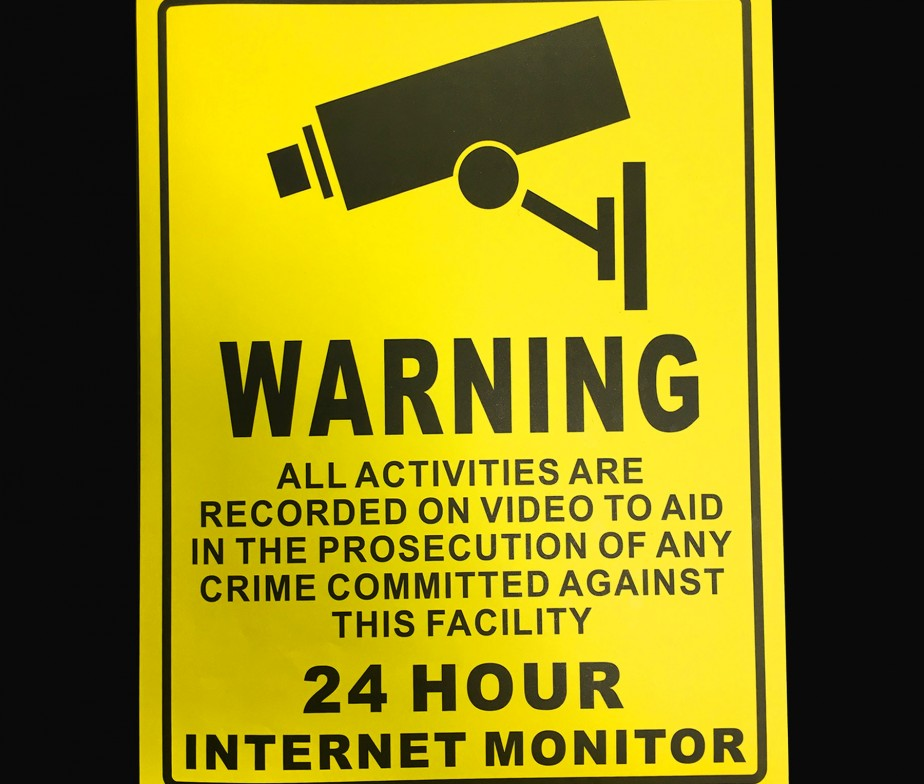 YELLOW WARNING CCTV 24hrs SECURITY SIGN SELF ADHESIVE ...