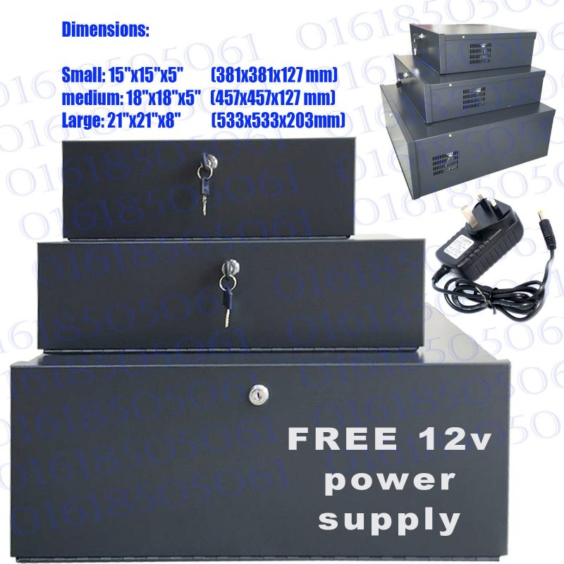 "Small CCTV DVR Lockable Safe Box Heavy Duty DVR Protection 15"" X 15"" X 5"""